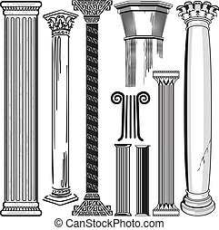 Clip art collection of columns and pillars
