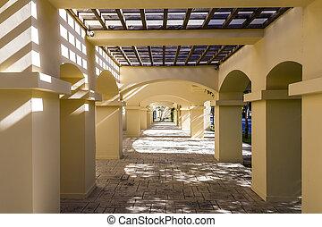 Column corridor pergola in hotel