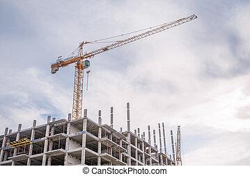 Column crane and new high-rise houses