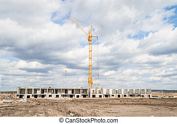 Column crane and new multi-storey building