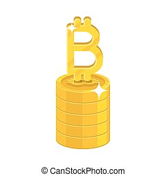 Column gold bitcoins isolated cartoon icon