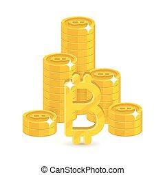 Column gold bitcoins stacks