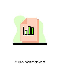 Column Graph Files Conceptual Vector Icon Illustration Design