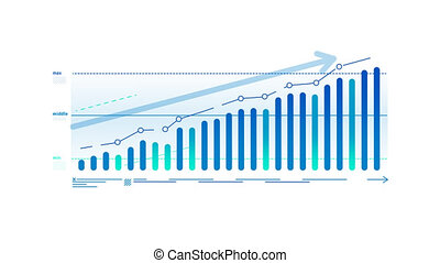 Decorative chart of growth with arrow, animated infographic element on the alpha channel.