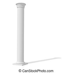 Column - grey column isolted on white-rendering