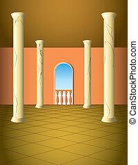 Column hall with window