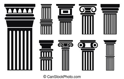Column icon set, simple style