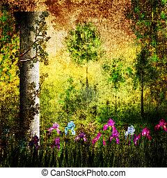 Column in the garden with irises grunge retro background