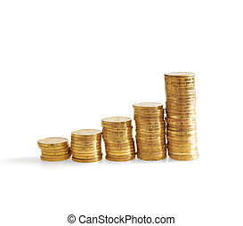 Column of golden coins on a white background
