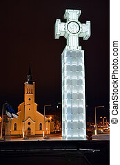 Column of Liberty. Tallinn, Estonia. Nightview - Column of...