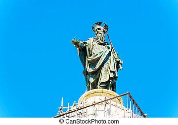 Column of Marcus Aurelius at Piazza Colonna in Rome, Italy....
