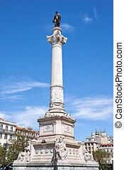 Column of Pedro IV on Rossio Square, Lisbon, Portugal.