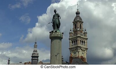 Column of the Goddess, Colonne de la D?esse, and Chamber of Commerce Belfry in Lille, France.