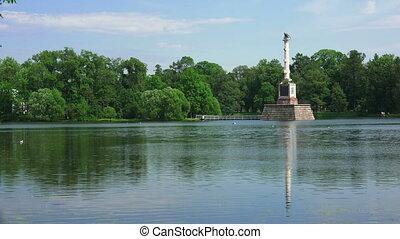 column., tsarskoye, chesme, catherine, pushkin., park.,...