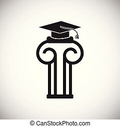 Column with graduation cap on white background