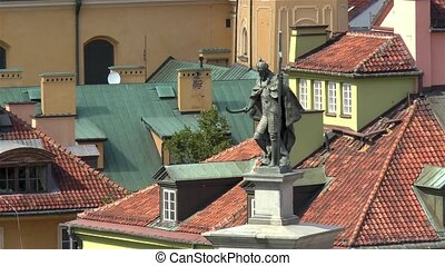 Statue of Zygmunt III Vasa atop of the Zygmunt's column in Old Town Warsaw, Poland.