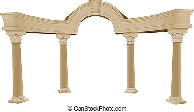 columna, griego, arco, 3d