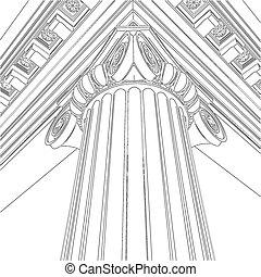 columna, griego, iónico