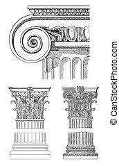 columna, griego, viejo