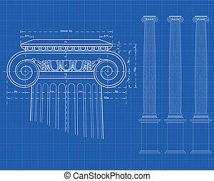 columna, iónico, tecnic