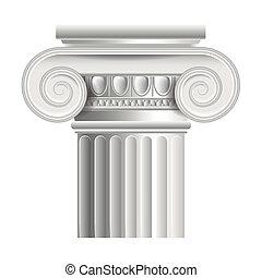 columna, ilustración, griego, romano, vector, o