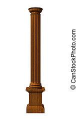 columna, madera, ilustración, rendido, 3d