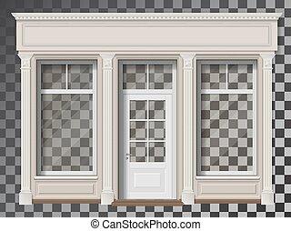 columna, transparente, frente, tienda de ventana