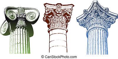 columna, vector, iónico