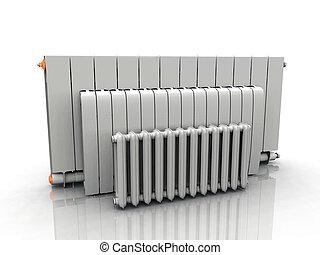 columnas, calefacción, blanco