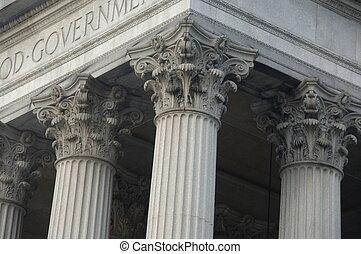 columnas corintias, en, un, edificio del gobierno