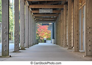 Columned hallway with nature view