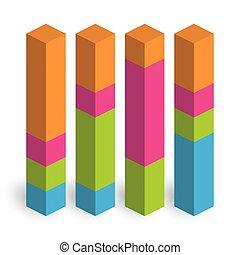 columns., économe, vecteur, 3d, coloré, diagramme, croissant, croissance, reussite, isométrique, graph., ou, thème, augmentation, 4, barre