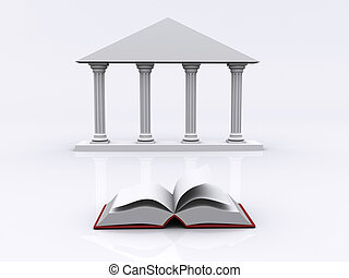 Conceptual ionic-style Greek architecture and a book - 3d render