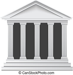 Columns ancient greek historic bank building vector