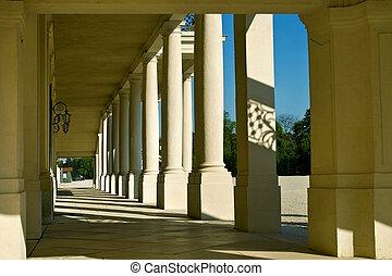 Columns at Schonbrunn Palace in Vienna