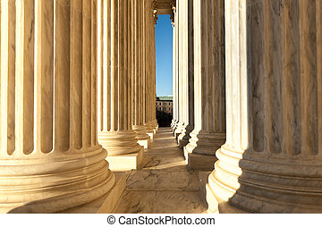 Columns at US Supreme Court in Washington DC daytime