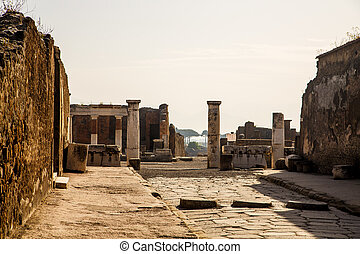 Columns by Ancient Pompeii Road