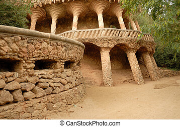Columns designed by Antoni Gaudi. Park Guell in Barcelona Spain