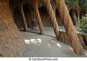 Columns in Antoni Gaudis Park G�ell, Barcelona Spain