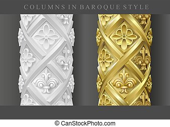 Columns in baroque style - Columns in the baroque style. Set...