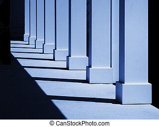 Columns in blue