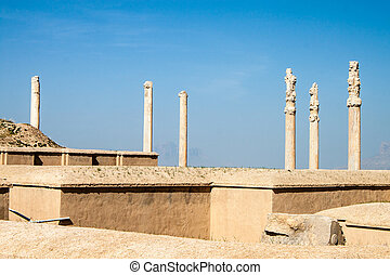 Columns in ruins of ancient Persepolis, Iran.