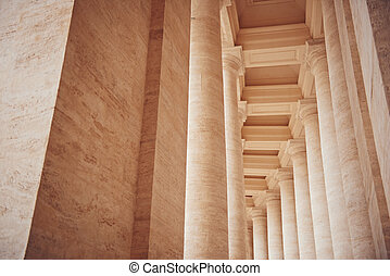 Columns in Vatican City. The Bernini's colonnades at the Saint Peters Square, Rome