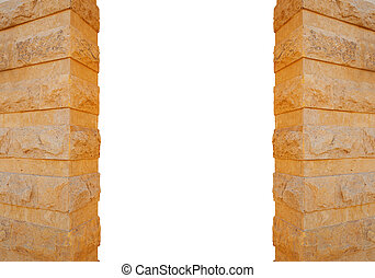 Columns made of stone isolated on white background