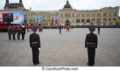 Columns military march under flag of Great Britain