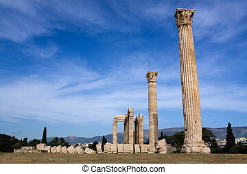 Columns of Ancient Temple of Olympian Zeus in Athens Greece on blue sky background