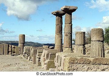 Columns of Athena temple in Assos, Turkey