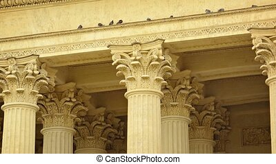 Columns of Kazan Cathedral in St. Petersburg, Russia close up