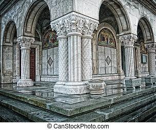 Columns of old antique orthodox romanian church