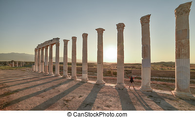 columns of the ancient city and visit